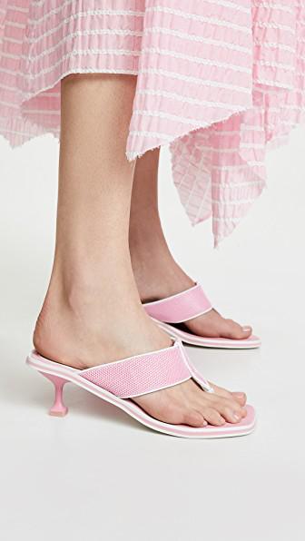 f59aa7907a0 Jeffrey Campbell Goalie Kitten Heel Flip Flops In Pink White