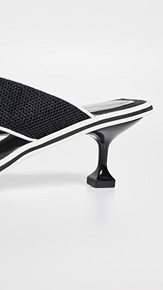 ae523893a94 Jeffrey Campbell Goalie Kitten Heel Flip Flops In Black White