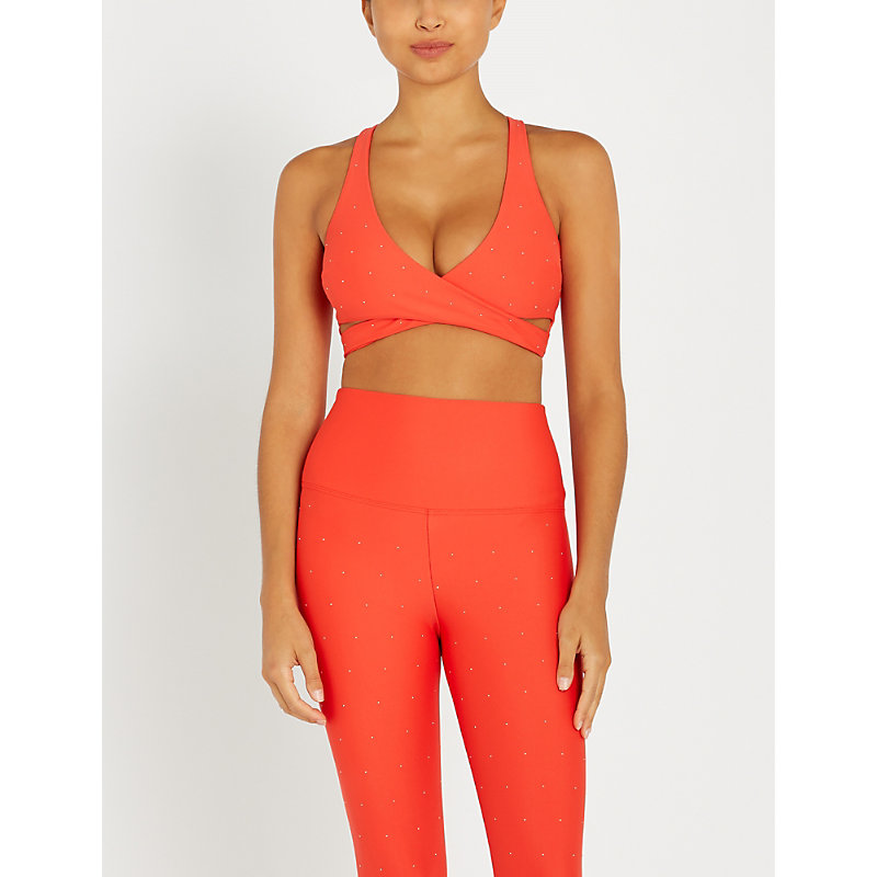97d9b4bafc Beach Riot Knox Wrap-Over Stretch-Jersey Crop Top In Red | ModeSens
