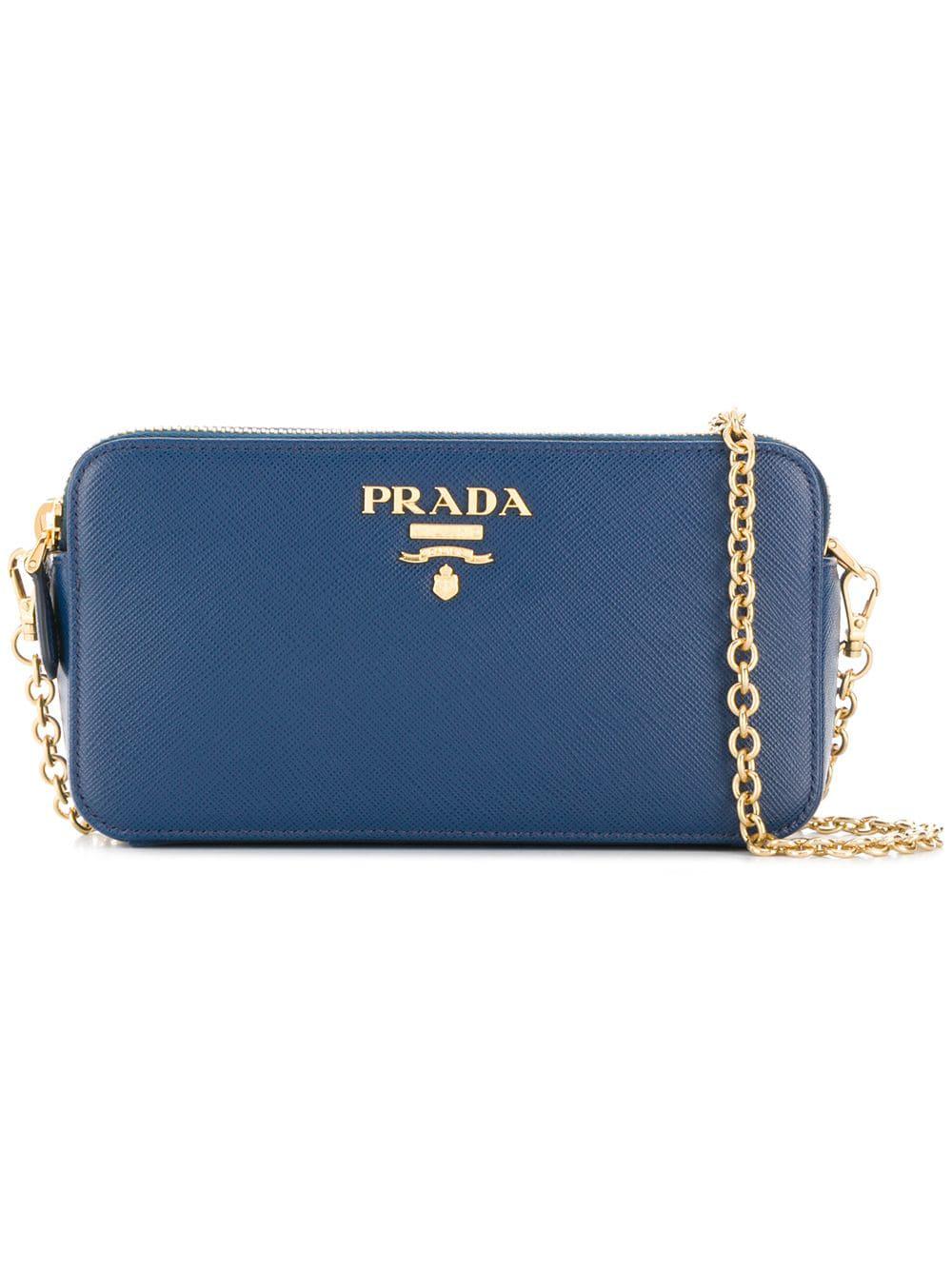 154699691514 ... buy prada logo plaque mini shoulder bag in bluette 6553d 9d6c5