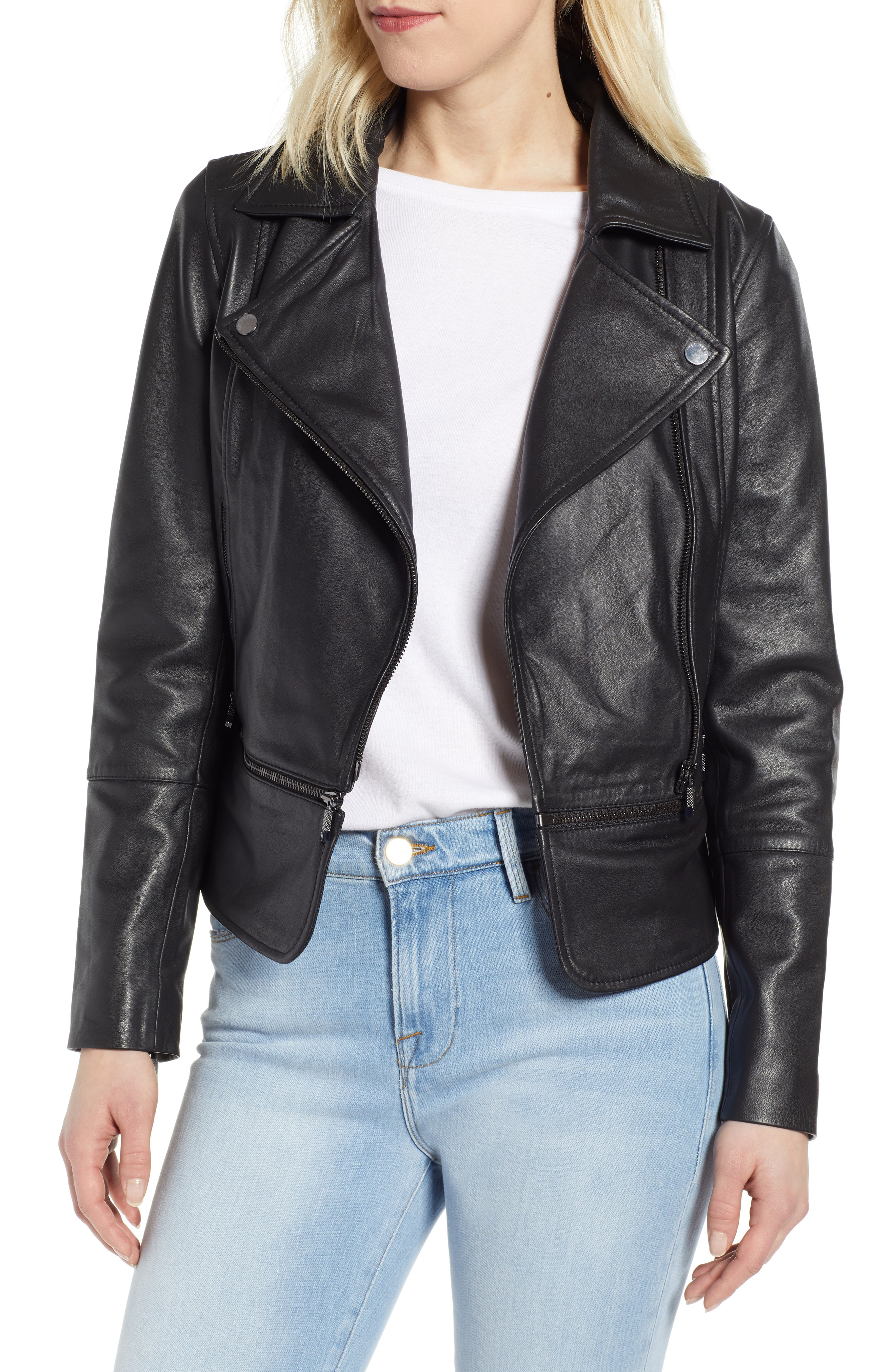31d486cb97ac Ted Baker Yaswin Convertible Leather Biker Jacket In Jet