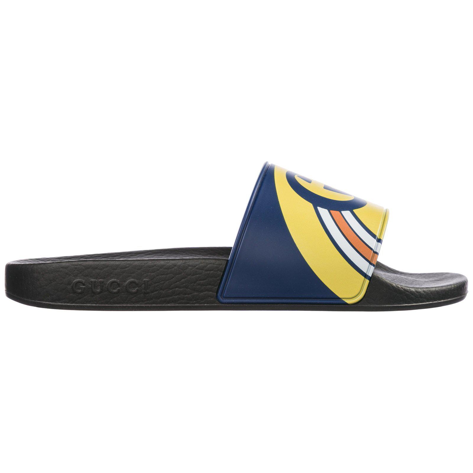 1d86e8e311f5 Gucci Men s Interlocking G Rainbow Rubber Slide Sandals In Blue ...