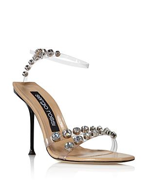 Sergio Rossi Women's Milano Embellished Snake-Embossed High-Heel Sandals In Var.Trasparente