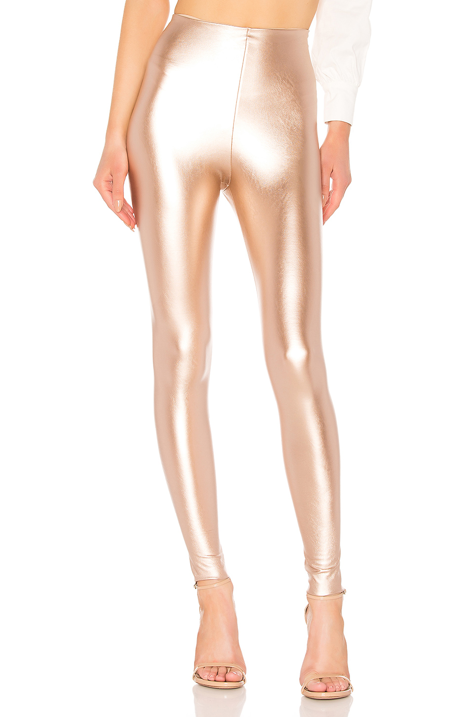 6b7478d081998 Commando Perfect Control Faux Leather Legging In Metallic Copper. In Rose  Gold