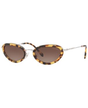 c0d991d68c9b8 Miu Miu DÉLice Tortoiseshell Print Oval Sunglasses In Brown