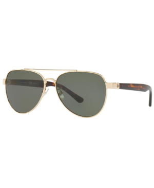 5e13cc91674df Tory Burch 57Mm Polarized Aviator Sunglasses - Gold  Green Solid In Shiny  Light Gold Metal