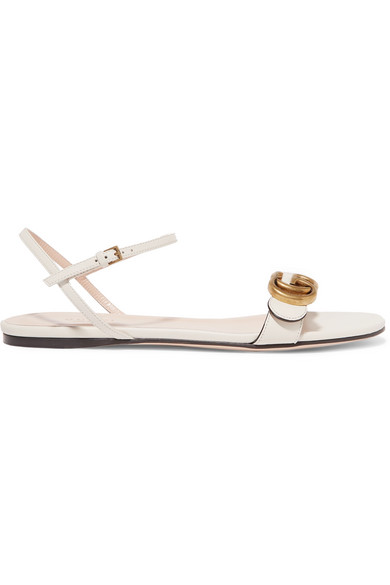 91a4299255d Gucci Marmont Logo-Embellished Leather Sandals In Ivory
