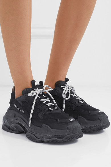 Balenciaga Triple S Clear Sole Logo-Embroidered Leather, Nubuck And Mesh Sneakers In 1000 Black
