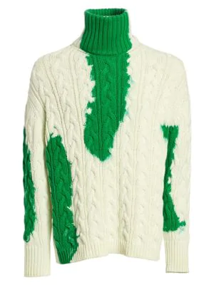 99e9d40540 Balenciaga Long-Sleeve Bleach Turtleneck Sweater In Green