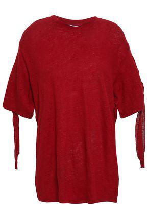 8fd475fb66 Iro Woman Lace-Up Slub Linen-Jersey T-Shirt Crimson