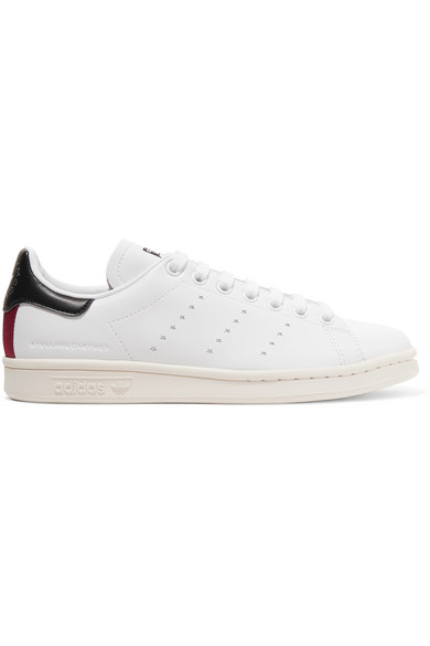 Stella Mccartney + Adidas Originals Stan Smith Grosgrain-Trimmed Faux  Leather Sneakers In White 28dfd09c3