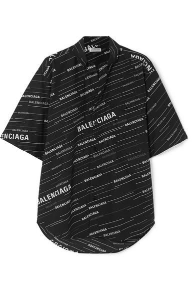 6656cec51315 Balenciaga Oversized Printed Cotton-Poplin Shirt In Black   ModeSens