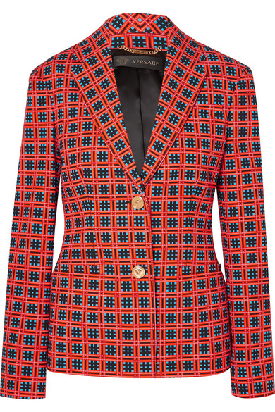108b8f396a Versace Fire Checked Tapestry Print Blazer In Red | ModeSens
