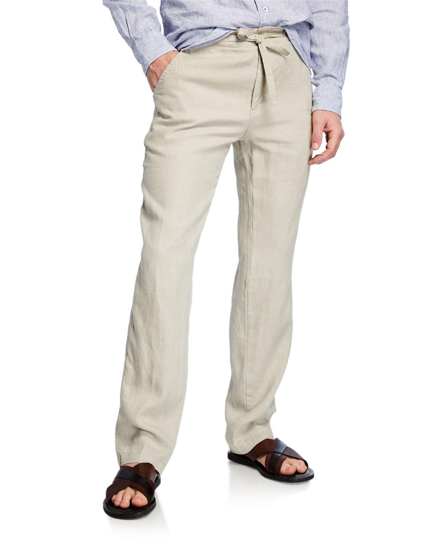570431f775 Neiman Marcus Men's Linen Drawstring Pants In Beige   ModeSens
