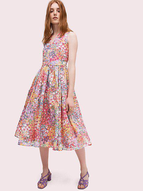 a6855d1644d Kate Spade Floral Dots Burnout Sleeveless Midi Dress In Multi