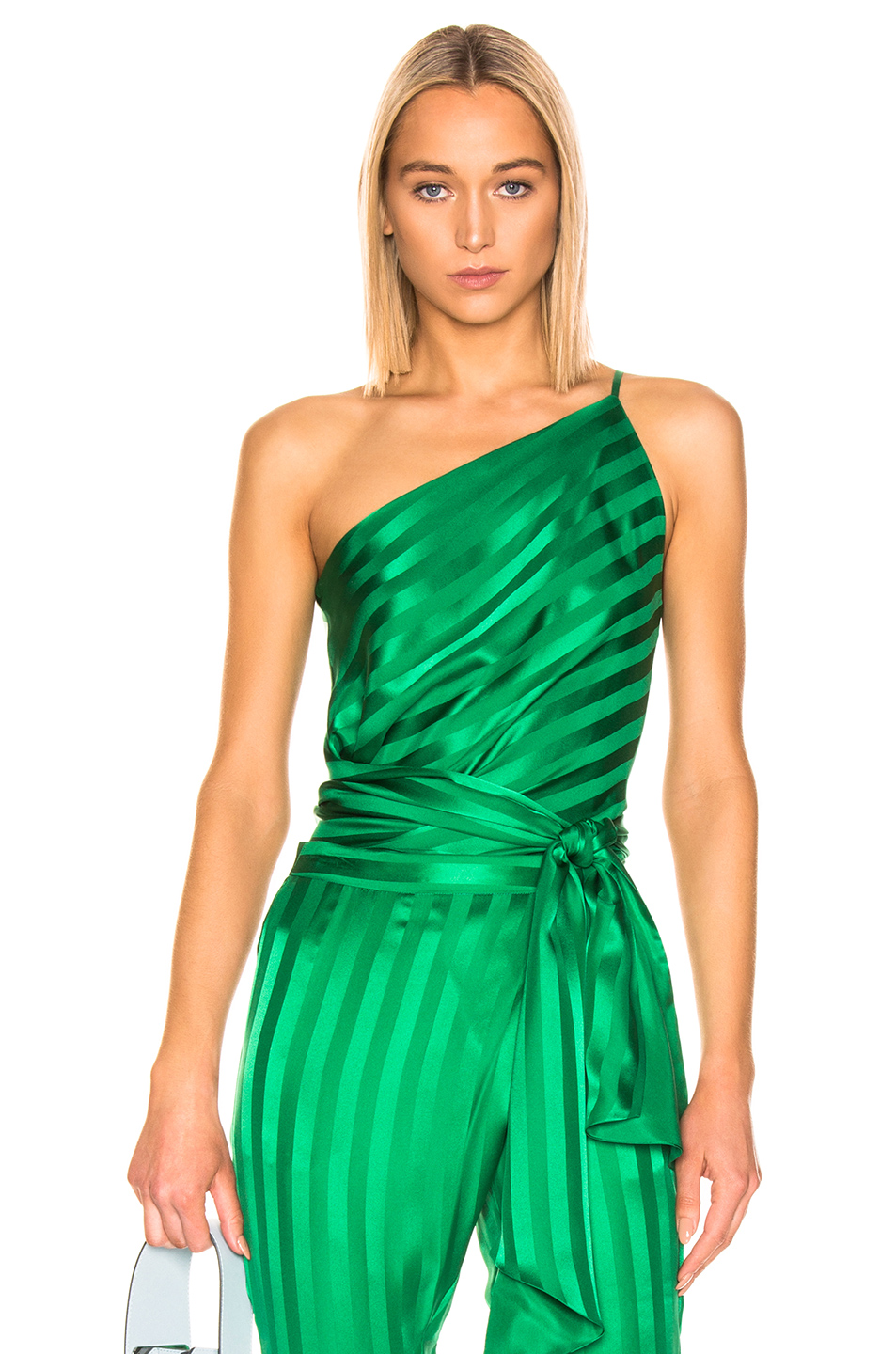 fe8fa476507 Michelle Mason One Shoulder Tie Top In Green. FORWARD. 339Login to see price