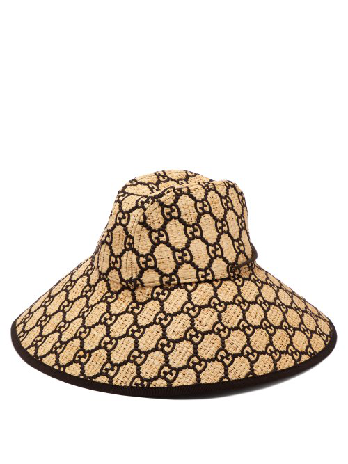 d81575fd99c35 Gucci Iris Gg Embroidered Woven Raffia Hat - Brown In Beige