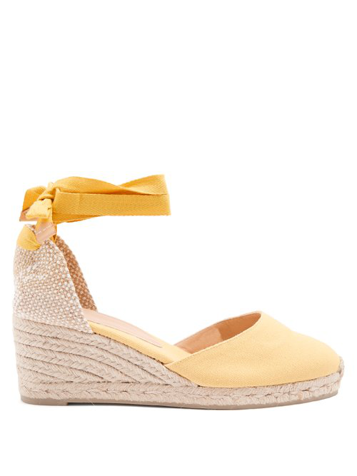 5a7bf75f8ad Castañer - Joyce 60 Canvas & Jute Espadrille Wedges - Womens - Yellow