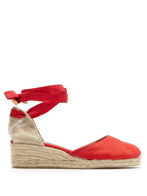 c0097fc9cee Castañer - Carina 30 Canvas & Jute Espadrille Wedges - Womens - Red