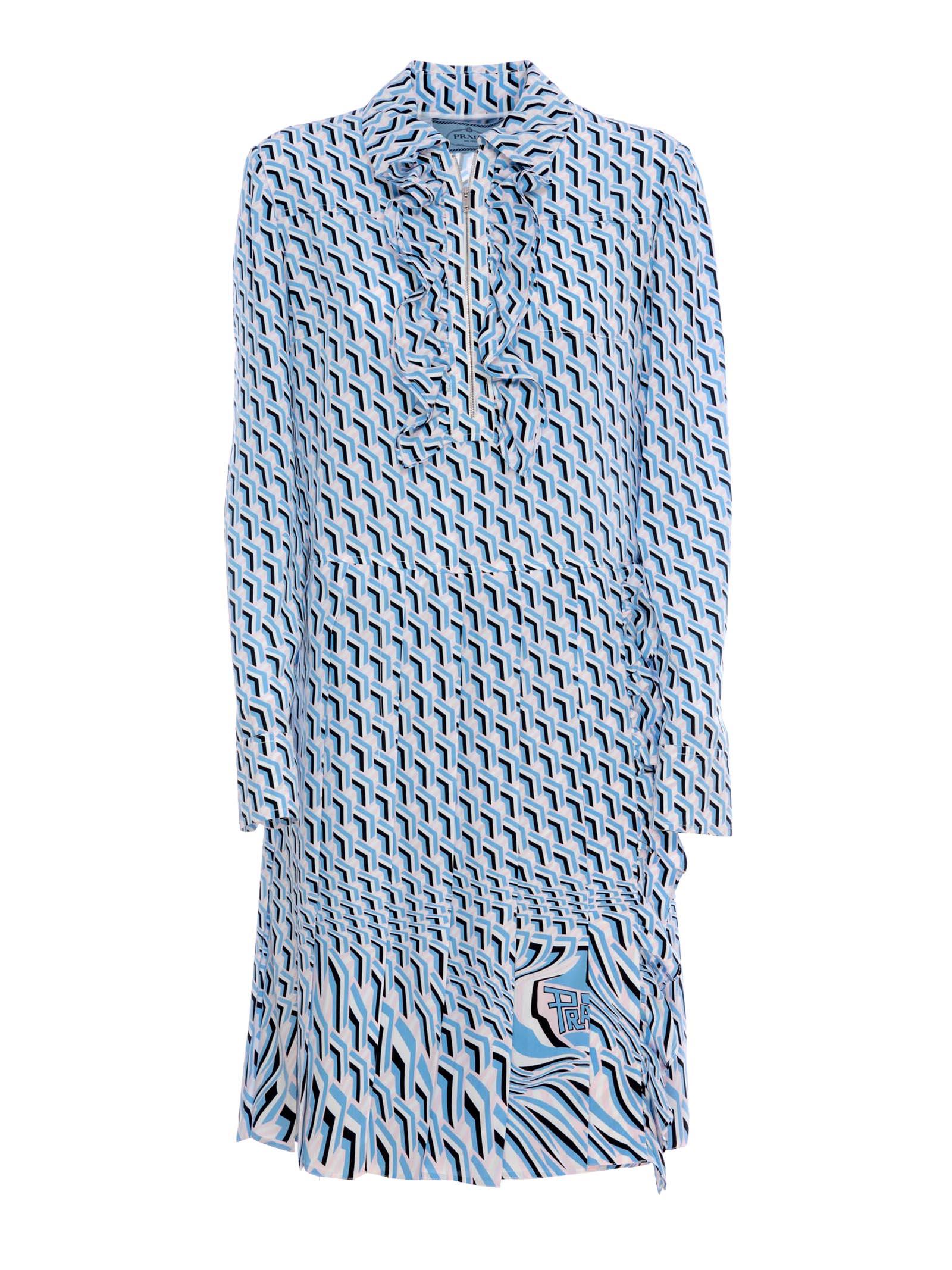 69d3f341facaf6 Prada Slik Printed Dress In Multicolor