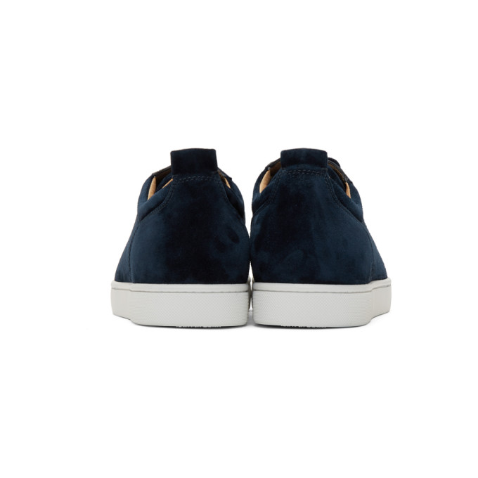 CHRISTIAN LOUBOUTIN CHRISTIAN LOUBOUTIN NAVY SUEDE LOUIS JUNIOR SPIKES SNEAKERS