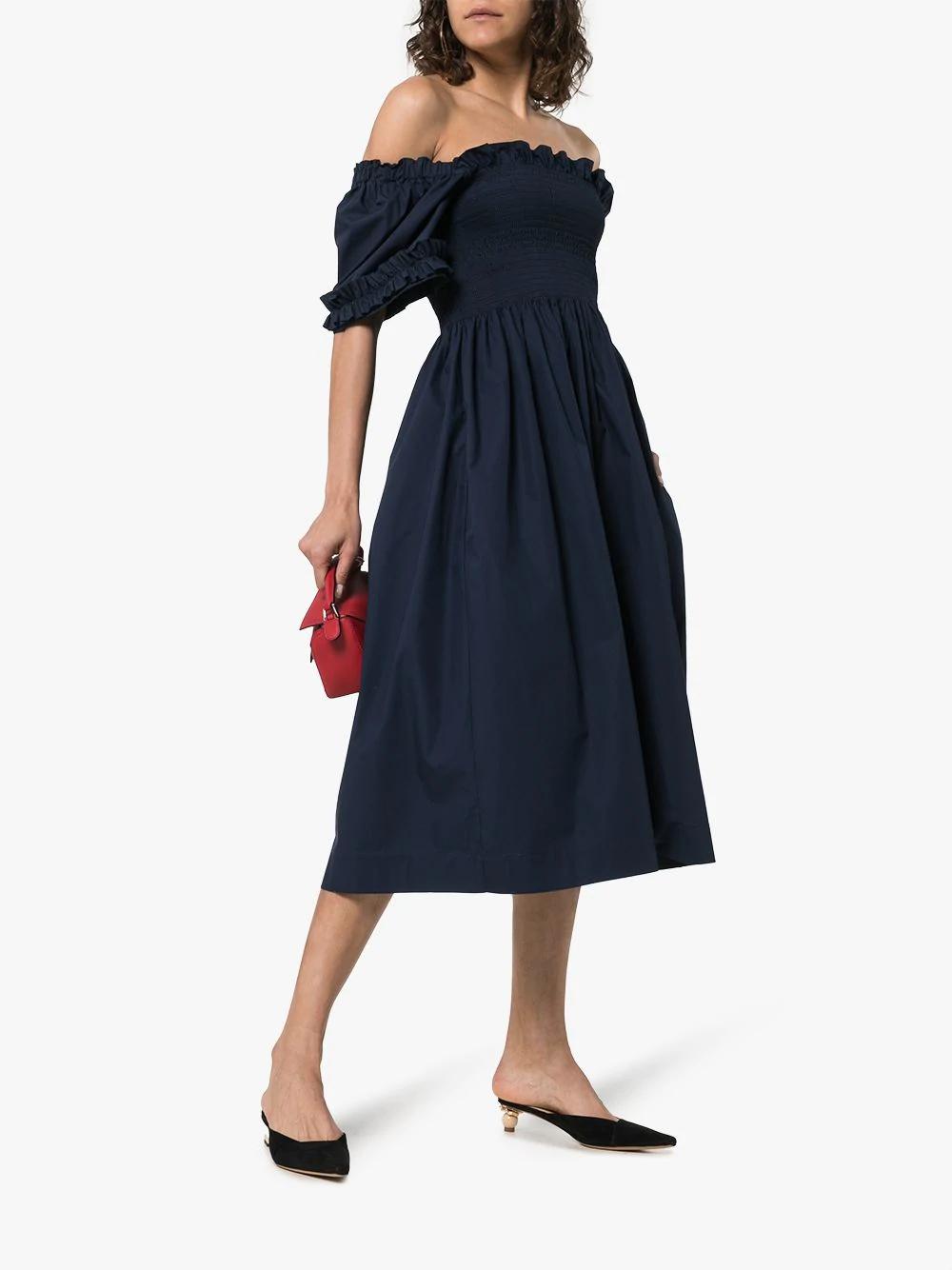 425e0c04c2293 Molly Goddard Adelaide Off-Shoulder Smocked Cotton Dress In Navy ...