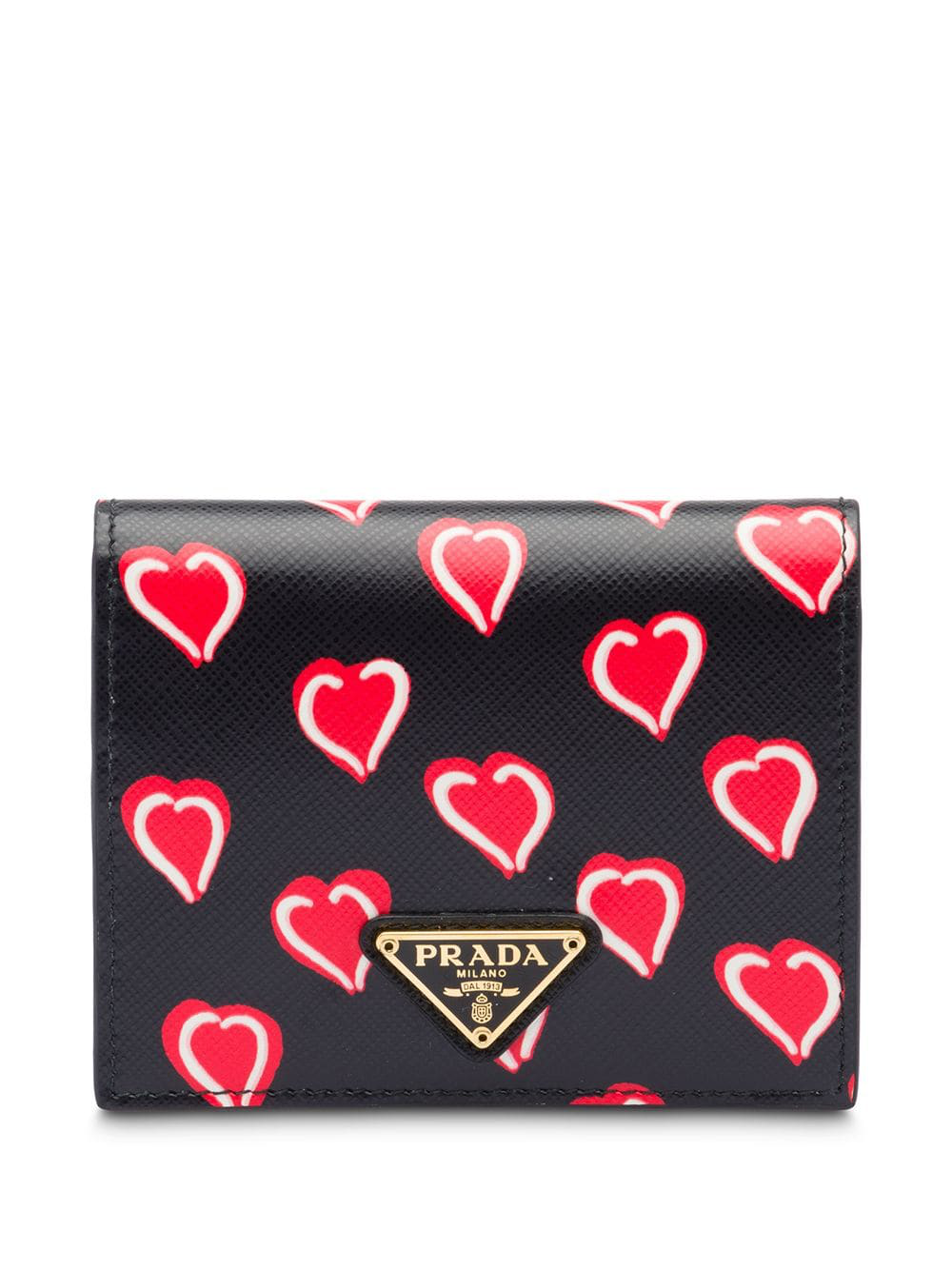 2ba9f78da30df2 Prada Small Saffiano Leather Wallet - Black In F0Yqx Black Hearts  Motif/Fiery Red