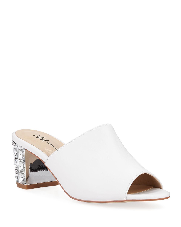 fc5b0c4bf Neiman Marcus Carly Jewel-Heel Mule Sandals In White