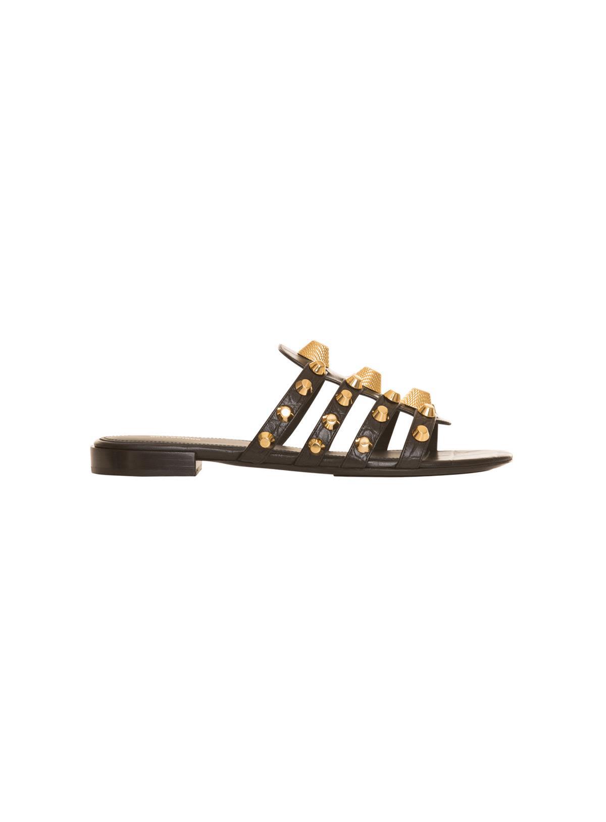 800efb48224 Balenciaga Mixed-Stud Leather Slide Flat Sandals