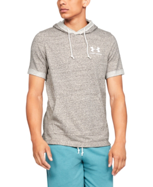 ce8ed0069a9a Under Armour Men s Sportstyle Terry Short Sleeve Hoodie In Onyx White