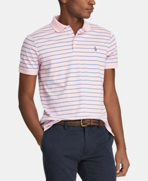 9ac2277a Polo Ralph Lauren Men's Classic-Fit Striped Soft-Touch Polo In Carmel Pink  Multi