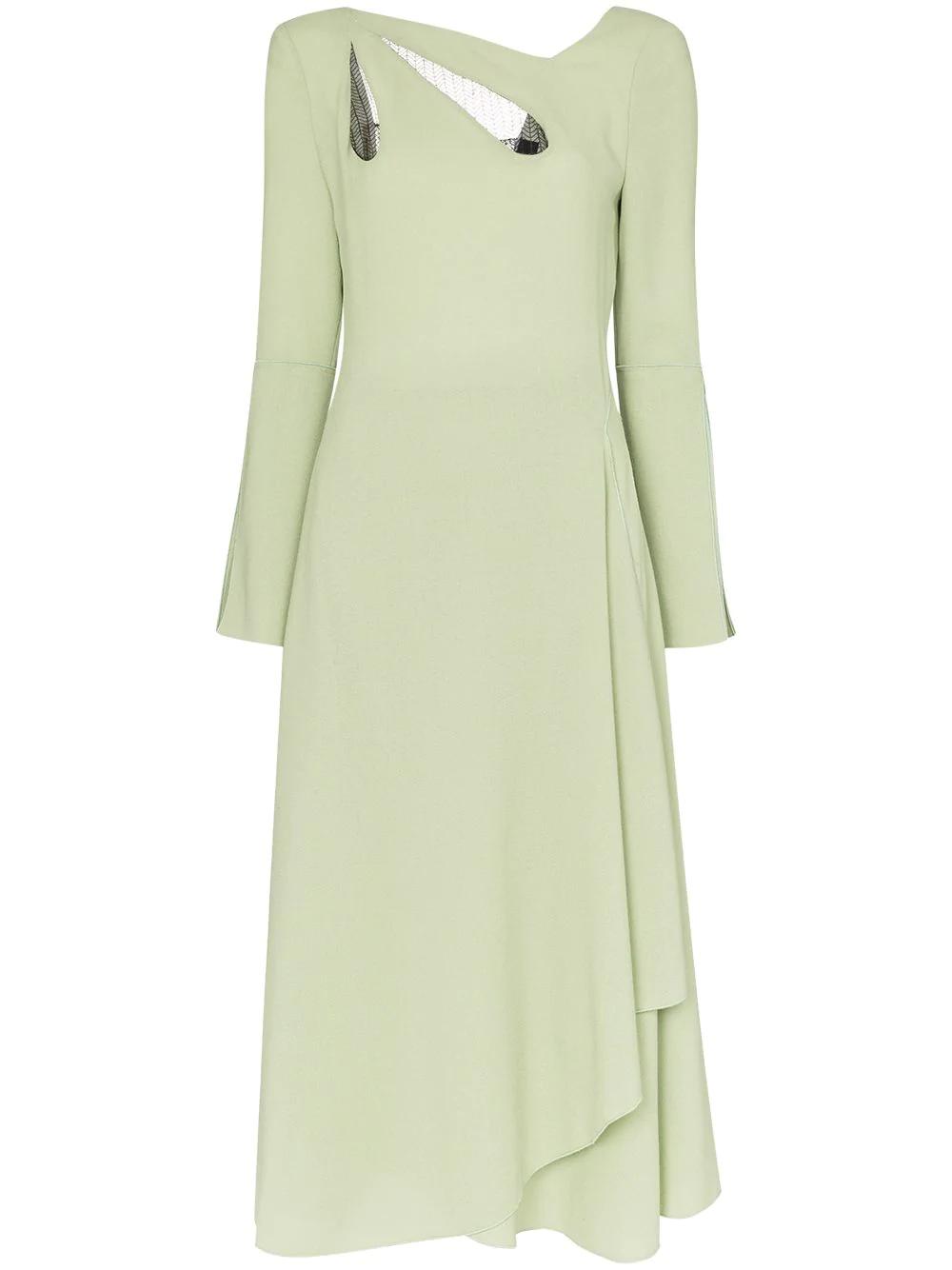 c4ecf8d0a3f Roland Mouret Oreti Cutout Detail Asymmetric Wool Dress - Green ...