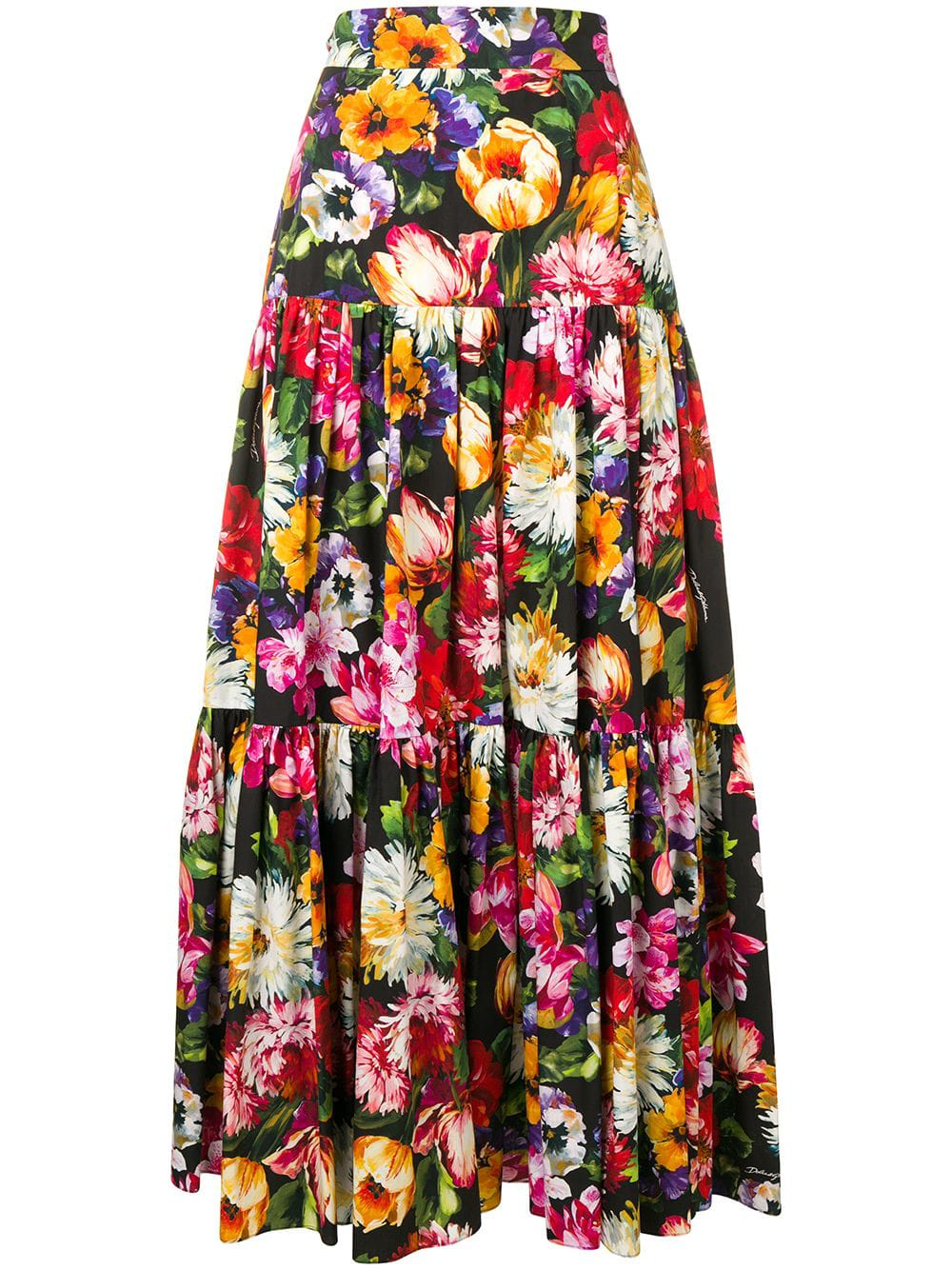 0ce7d675c129e1 Dolce & Gabbana Tiered Ruffled Floral-Print Cotton-Poplin Maxi Skirt In  Black