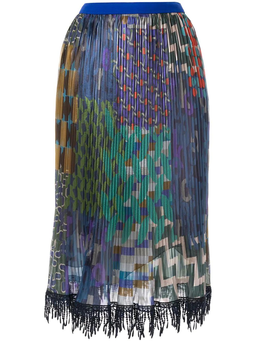 81c05dbf0e Kolor Mixed-Print Pleated Skirt - Multicolour | ModeSens