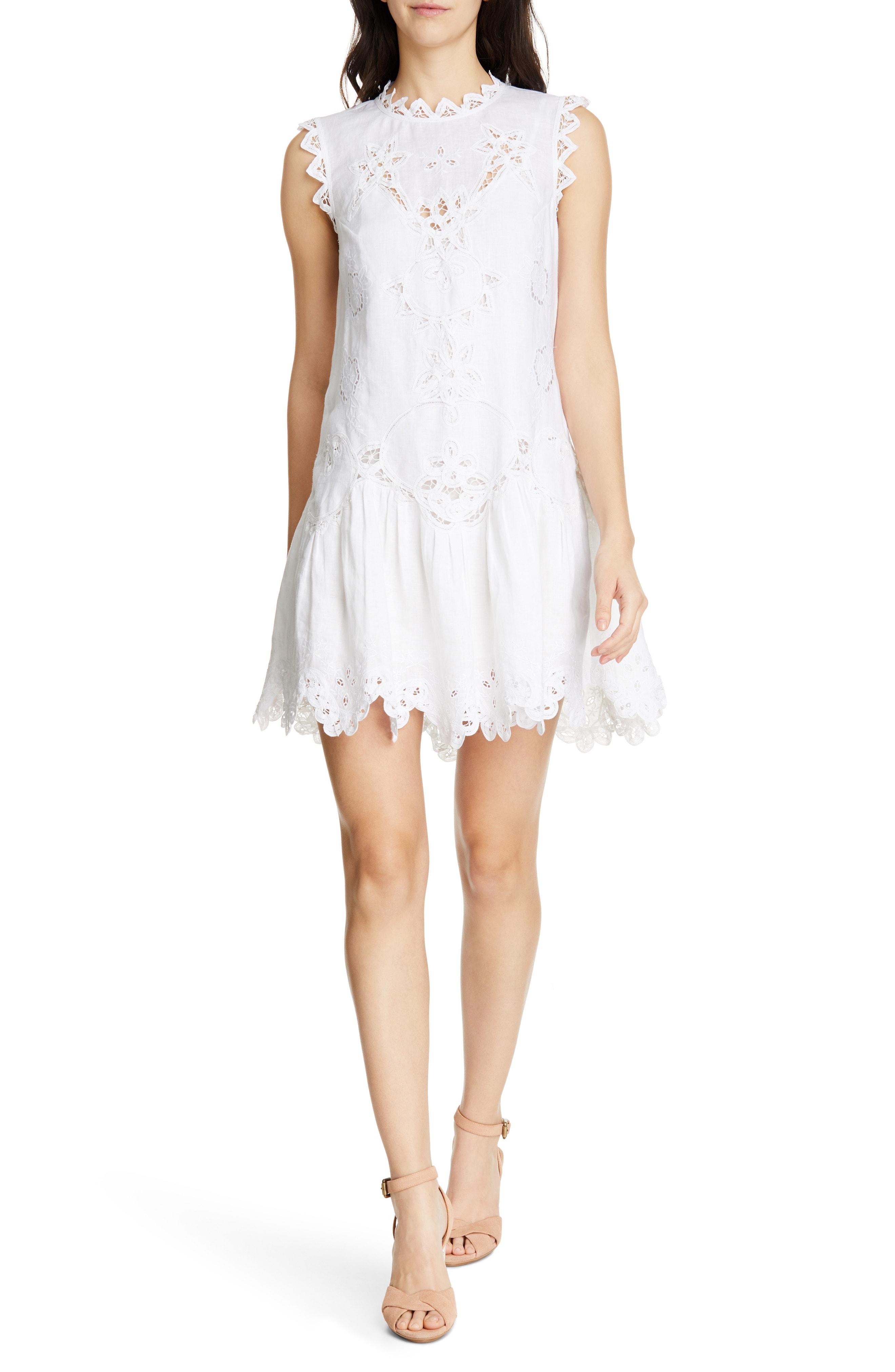 04cb6c9d784 Rebecca Taylor Terri Embroidered Linen Minidress In Milk