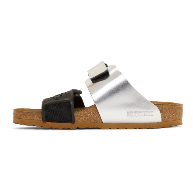 79a78a266d83 Rick Owens + Birkenstock Rotterdam Metallic Leather And Rubber Sandals -  Silver