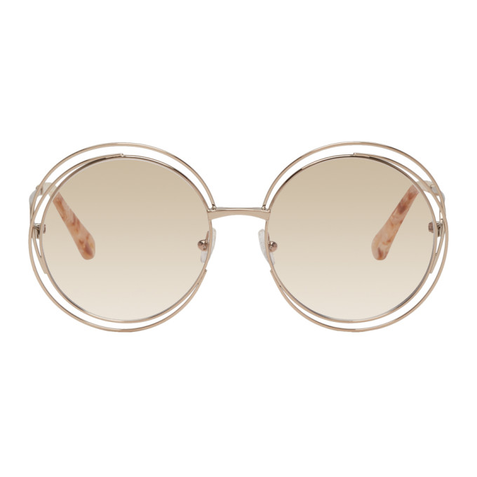 50de2da4453dc ChloÉ Chloe Rose Gold Carlina Round Glasses In 780 Rose Go