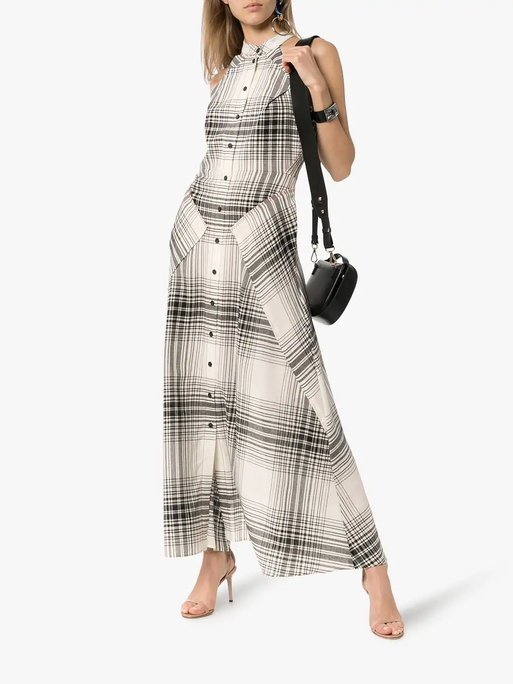 ffb0ecb2d8e Roland Mouret Amador Check Print Silk-Blend Dress In C4024 Monochrome