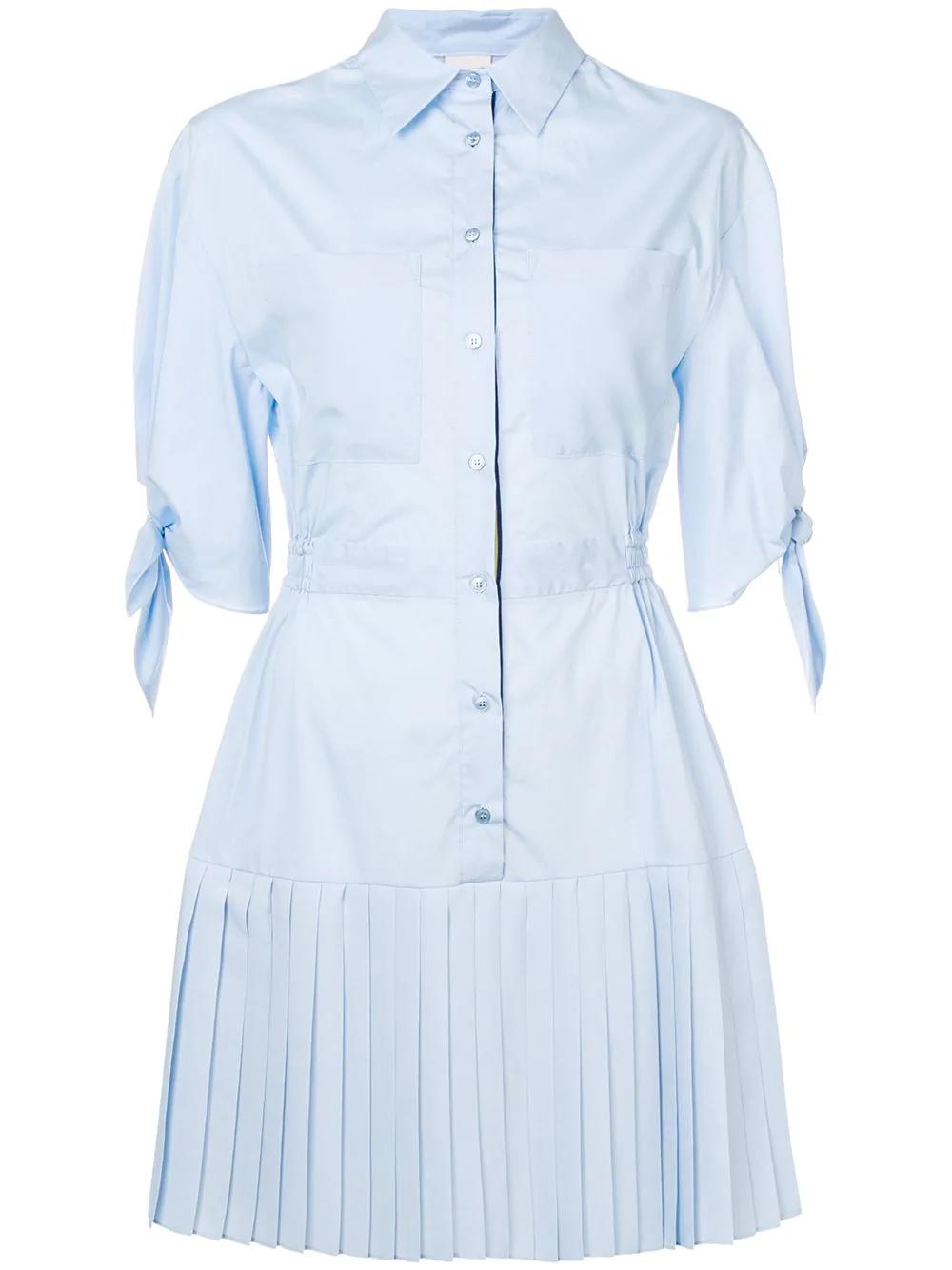 12d22295b6 Pinko Pleated Shirt Dress - Blue | ModeSens