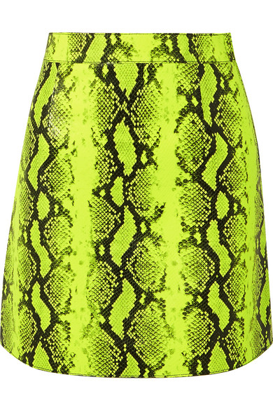 6958cbc419 Off-White High-Waist Python-Print Leather Mini Skirt In Lime Green ...