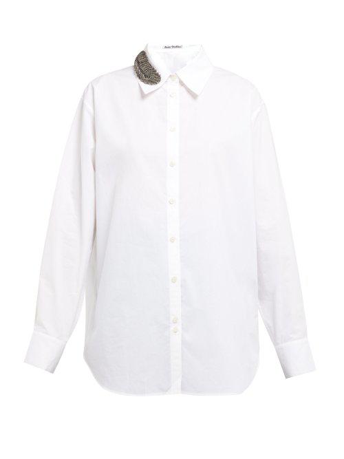 01b0d1265fa219 Acne Studios - Beaded Feather Appliqué Poplin Shirt - Womens - White ...