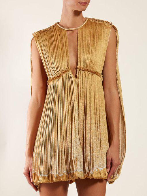5a975a698e Dégradé Pleated Silk Mini Dress in Gold