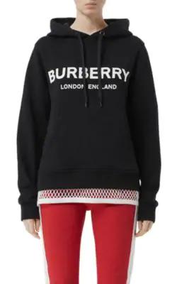 Burberry Logo Print Cotton Sweatshirt Hoodie In Black