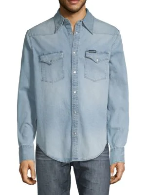 9adf343acfd Calvin Klein Jeans Foundation Western Denim Shirt In Light Blue ...