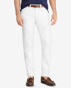 1762b38e Men's Varick Slim Straight Stretch Jeans in New Hudson White