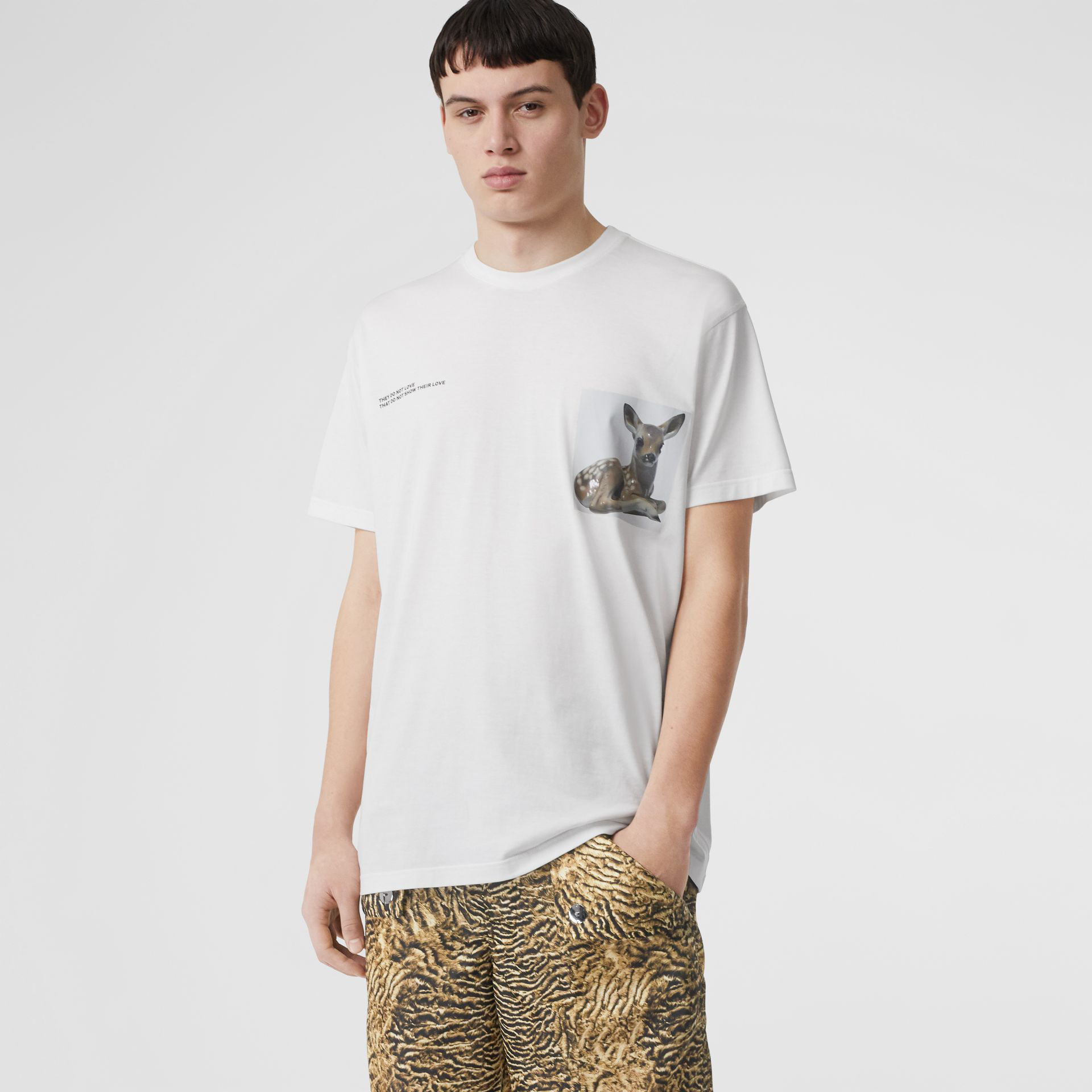 8ac1adab Burberry Montage Print Cotton Oversized T-Shirt In White | ModeSens