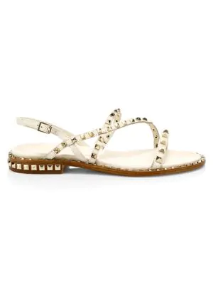 bebbf3346412 Ash Peace Rockstud Leather Gladiator Sandals In Ivory