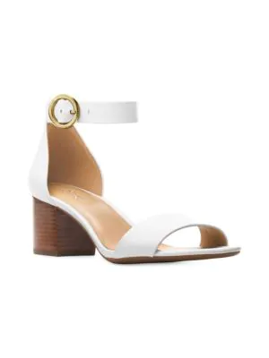 18303a6a57 Michael Michael Kors Lena Flex Mid Leather Ankle Strap Sandals In Optic  White