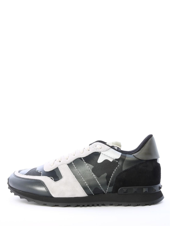 d5feb9ebbb6d Valentino Men S Rockrunner Camo Leather Sneakers In Light Gray ...