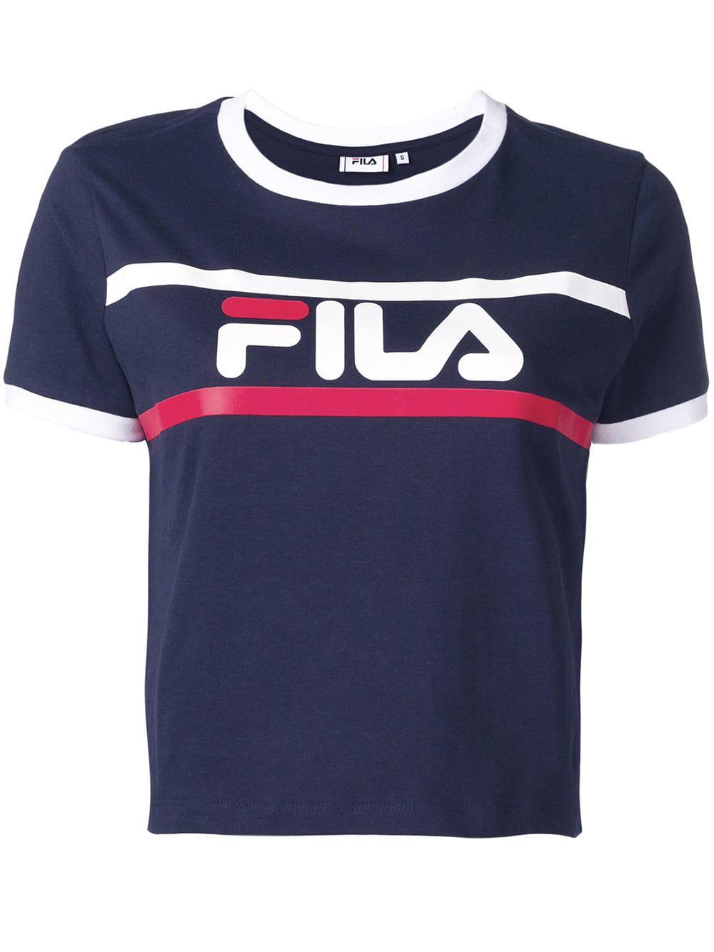 25dfce32 Fila Logo Print T-Shirt - Blue | ModeSens